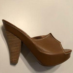 Max studio leather wrap stacked heel slides